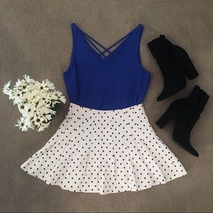 Forever 21 Pleated Polka Dot Cheer Style Skirt